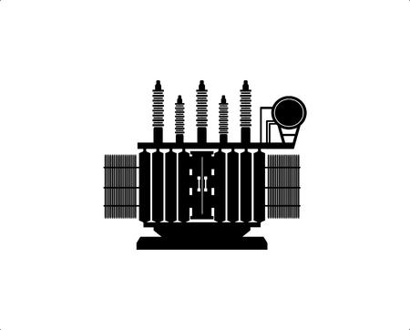Hoogspanningstransformator op een witte achtergrond. Vector Illustratie