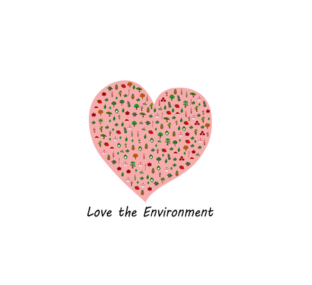 World environment day. Love the environment Agriculture and natural trees And what man created together on earth. Humans must love the environment and love the world.