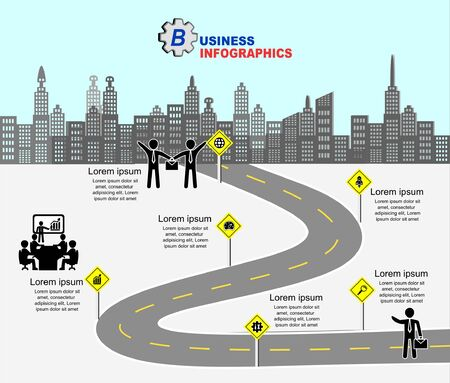 Vector template infographic Timeline of business operations with  colorful  circles icons and placeholders on curved roads.