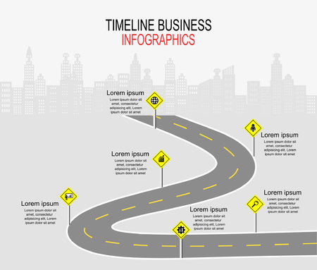Vector template infographic Timeline of business operations with flags and placeholders on curved roads. Standard-Bild - 109058707
