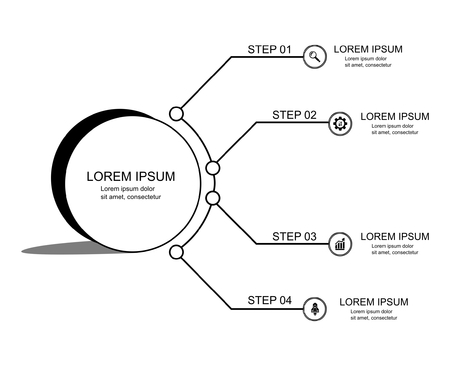Infographic template with four steps or options, workflow, process diagram, vector Standard-Bild - 109058712