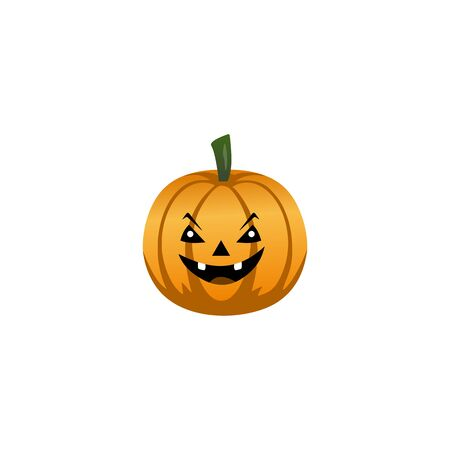 Halloween pumpkin with happy face on white background. Vector Illustration. Illustration