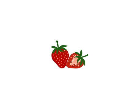 Vector isolated strawberry on white background. Garden strawberry fruit or strawberries flat color icon. fresh farm organic berry used for magazine, poster, web pages. Realistic sweet fruit. Illustration