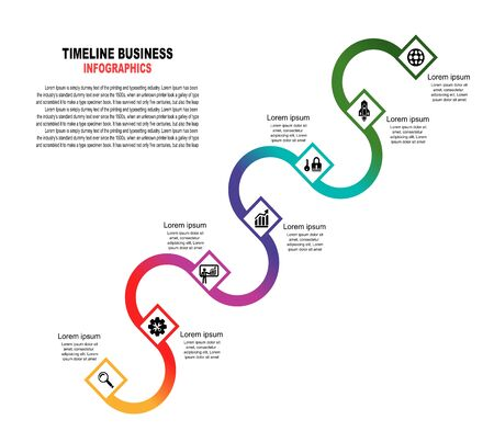 Vector template infographic Timeline of business operations with flags and placeholders on curved roads. Symbols, steps for successful business planning Suitable for advertising and presentations.