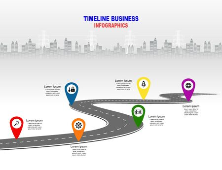 Vector template infographic Timeline of business operations with flags and placeholders on curved roads. Symbols, steps for successful business planning Suitable for advertising and presentations. Vector Illustration