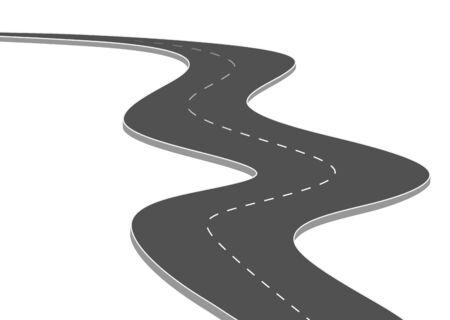 Viaje por carretera hacia el futuro. Calle asfaltada aislada sobre fondo blanco. Símbolos Camino a la meta del punto final. La ruta significa una planificación empresarial exitosa Adecuado para publicidad y estaciones de presentación.