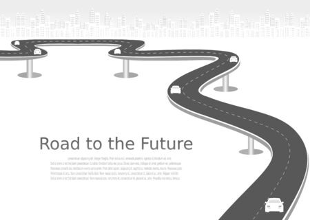 Roadway journey to the future. Asphalt street isolated on city background. Symbols Way to the goal of the end point. Path mean successful business planning Suitable for advertising and presentstation 向量圖像