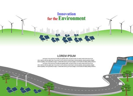 Power generation system renewable Clean energy from nature, such as wind, solar, water energy, can be used to produce electricity.Vector template infographic Timeline of business operations with cars. Illustration