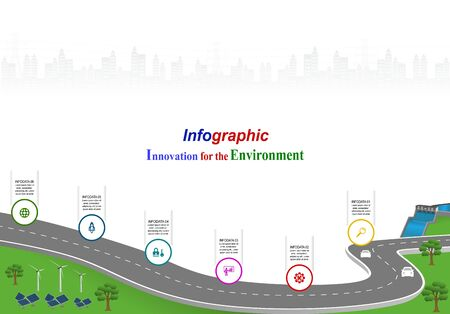 Innovation, for environment and society city that can live together. Vector template infographic Timeline of business operations with flags and placeholders on curved roads. Symbols, steps for success