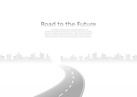 Roadway journey to the future. Asphalt street isolated on city background. Symbols Way to the goal of the end point. Path mean successful business planning Suitable for advertising and presentstation Illustration