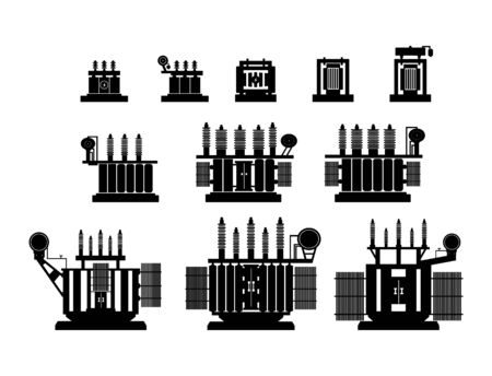 High Voltage Transformer on a white background. Electrical equipment icon. Vector illustration. Symbols, steps for successful business planning Suitable for advertising and presentations.