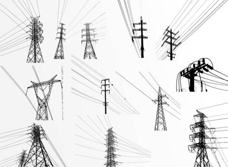 Electric power system Illustration, presentation, and advertisement. The picture shows a network of interconnected electrical systems in all areas. Symbols, steps for successful business planning Suit