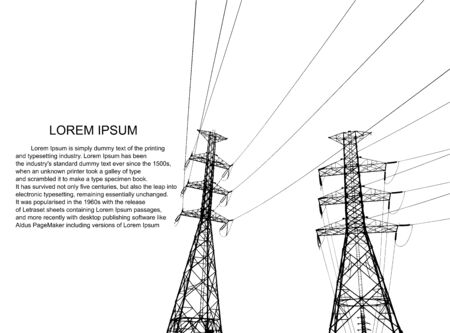 Stromversorgungssystem Illustration, Präsentation und Werbung. Das Bild zeigt ein Netzwerk miteinander verbundener elektrischer Systeme in allen Bereichen. Symbole, Schritte für eine erfolgreiche Geschäftsplanung Anzug