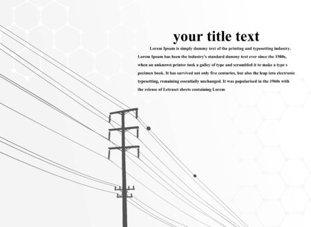 Electric power system Illustration, presentation, and advertisement. The picture shows a network of interconnected electrical systems in all areas. Symbols, steps for successful business planning Suit Imagens - 147981210