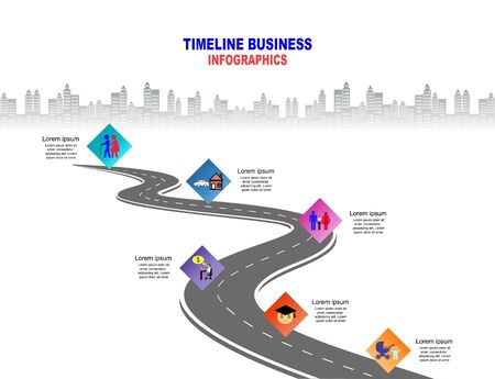 Vector template Infographic Timeline of human life with flags and placeholders on curved roads. Symbols, steps for successful business planning Suitable for advertising and presentations.