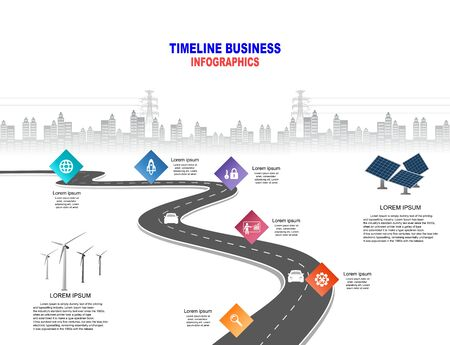 Vector template infographic Timeline of business operations with flags and placeholders on curved roads. Innovation, for environment and society city that can live together. Symbols, steps for success