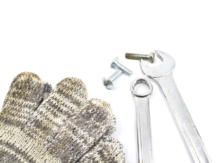 chrome vanadium: Chrome Vanadium spanner or wrench with new and old nuts and bolts.