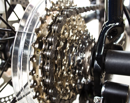 Rear mountain bike cassette on the wheel with chain Stok Fotoğraf