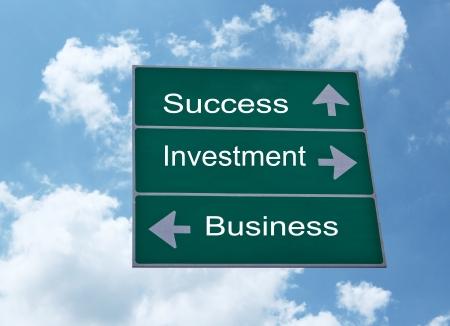 Success,Business,Investment road sign and blue sky photo