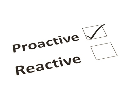 reactive: Chalk drawing - Proactive or Reactive concept Stock Photo