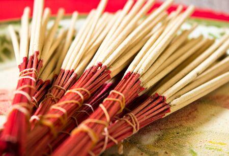 incense sticks: Incense sticks on the tray