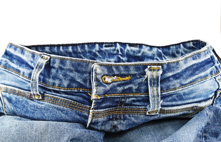 Blue denim jeans isolated on white background photo