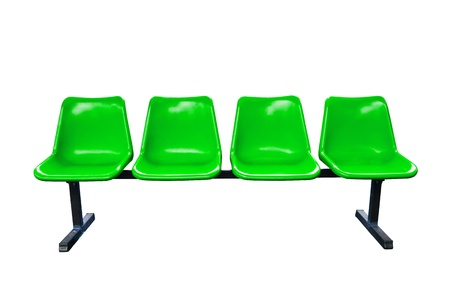 Green plastic chairs at the bus stop isolated on white background 스톡 콘텐츠