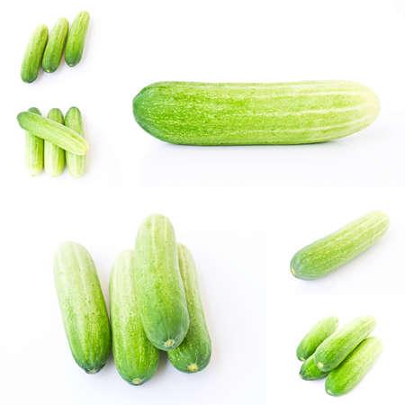 Set Cucumber isolated on white background