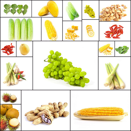 Group of fruits and vegetables isolated on white background