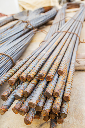rigid: Steel rods for new building Stock Photo