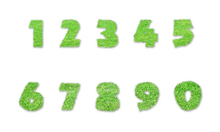 Numbers made of green grass isolated on white background Stock Photo