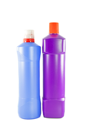 Two toilet cleaner bottle isolated on white Stok Fotoğraf - 28589043