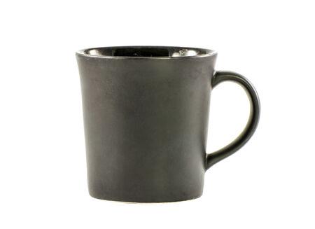 house ware: Black ceramic mug isolated on a white