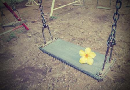 Retro style empty chain swing. photo