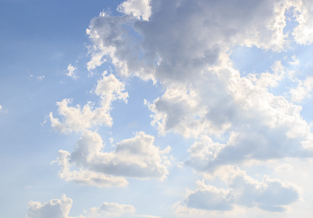 Cloudscape with white clouds and blue sky Stock Photo