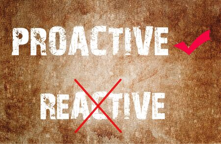 Proactive and Reactive concept text on grunge background