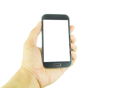 smart phone hand: Hand holding smart phone isolated on white background Stock Photo