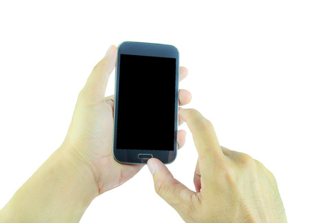 hand holding smart phone: Hand holding smart phone isolated on white background Stock Photo