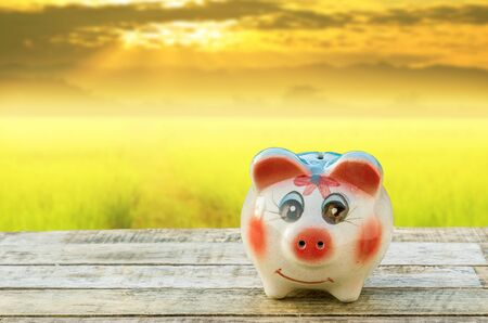 Piggy bank on wooden table over blurred sky sunset background. saving money concept.