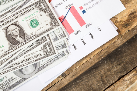 Close up dollars on financial paper graphs on wooden background