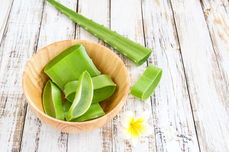 Close up Aloe Vera leaves in wooden bowl on wooden table