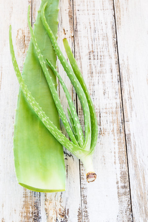 Close up Aloe Vera leaves on wooden background