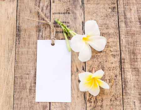White Card and Plumeria flower on wooden background