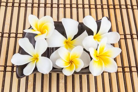 wellness: Tropical Plumeria on bamboo mat for spa and wellness concept Stock Photo