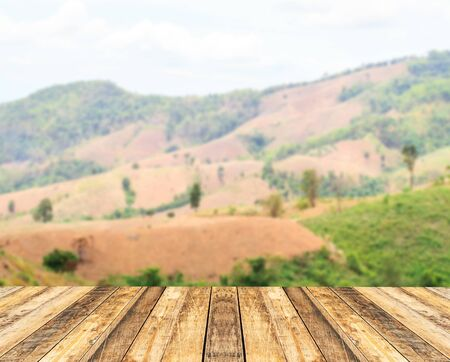 Old wooden table with blurred background for any design 写真素材
