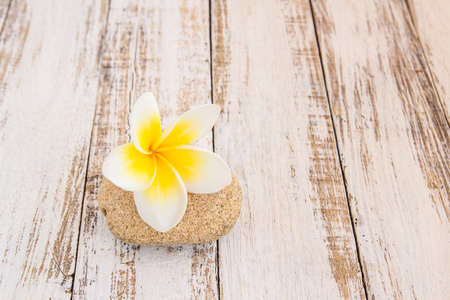 Tropical Plumeria and stone therapy on wooden table for spa and wellness concept 版權商用圖片