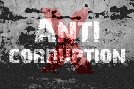 corruption: Text for Anti Corruption on grunge background for any design