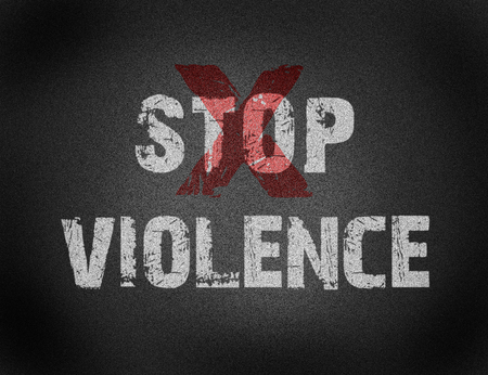 Text of Stop Violence on grunge background for any design