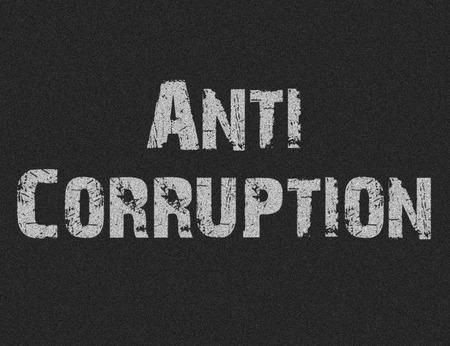 corrupcion: Text of Anti Corruption on black background for any design Foto de archivo