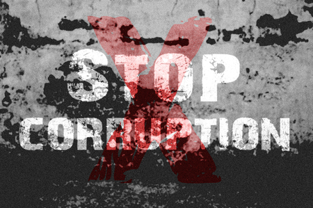anti racist: Text for Stop Corruption on grunge background for any design Stock Photo